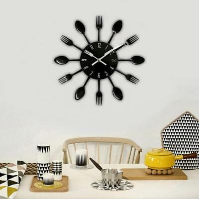 Modern Easy Read 3D Metal Wall Clock Silent Sweep Spoons&Forks Non-ticking