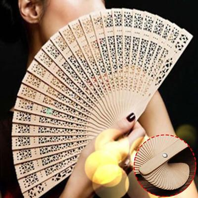 Wedding Hand Fragrant Party Carved Bamboo Folding Fan Chinese Style Wooden SP