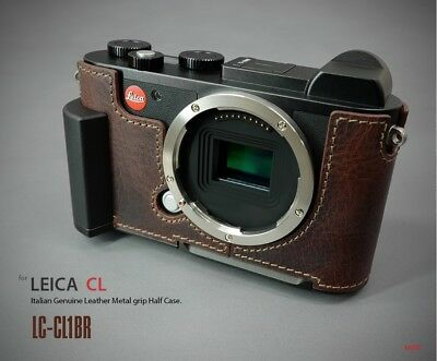 LIM'S Leather Camera Metal Grip Half Case Dovetail Plate for Leica CL Brown