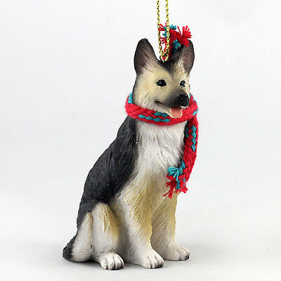 German Shepherd Black Tan Dog Christmas Ornament Figurine w/ Scarf