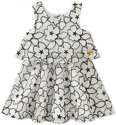 Juicy Couture Big Girls White & Black Floral Dress Size 7 8/10 12 $75