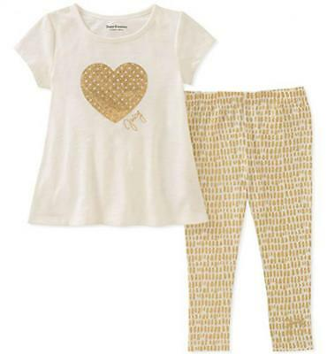Juicy Couture Big Girls Vanilla & Gold 2pc Legging Set Size 7 8/10 12 $75