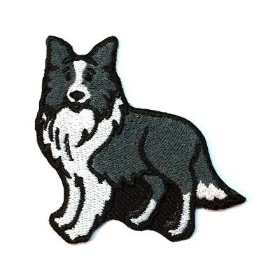 Border Collie Iron On Embroidered Patch