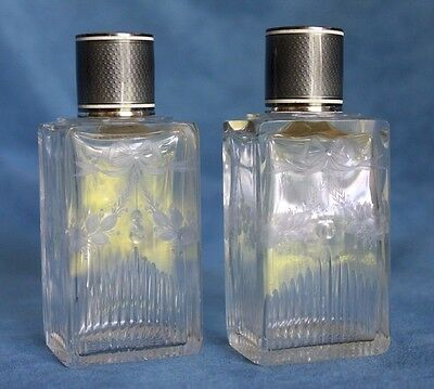 Antique Pair Of Signed French Sterling Guilloche Enamel Perfume Cologne Bottles