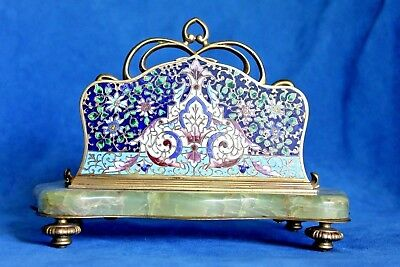 Antique French Champleve Cloisonne Enamel Bronze Marble Desk Mail Letter Caddy