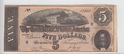1864 Confederate States of American $5 Note T69 Series 4 #12660