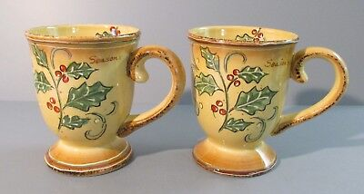 """Pair of Maxcera 20 oz. """"Holly Script"""" Large Mugs - Holly and Berry Design"""