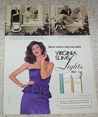 1983 ad page - Virginia Slims Cigarettes -Nowicki- SEXY GIRL smoking print AD