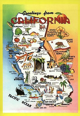 Greetings from California, Los Angeles, San Francisco etc. -- State Map Postcard