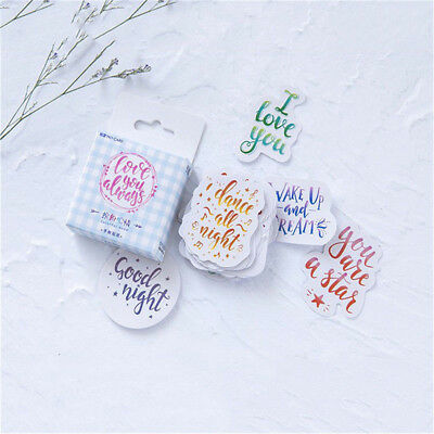45pcs/pack Cartoon Words Stickers for Diy Diary Scrapbooking Stationery Stickers