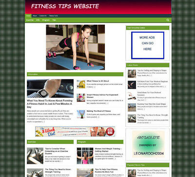 Fitness Advice Blog / Website With Uk Affiliate Store & Video Pages + New Domain