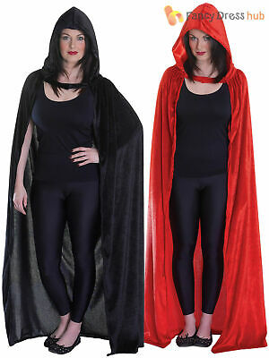 Ladies Velvet Hooded Cloak Cape Fancy Dress Costume Halloween Red Riding Hood