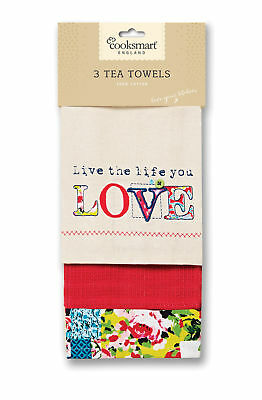 Cooksmart Oriental Patchwork Tea Towels Pack of 3 Floral Multi Pink Drying Cloth