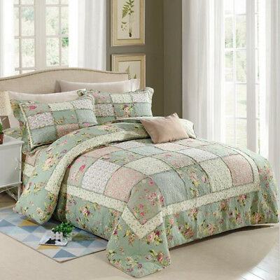 Floral Patchwork Coverlet Quilted Queen/King Size Bedspreads Set Blanket Throw