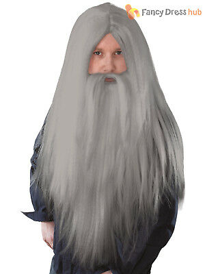 Mens Wizard Wig + Beard Halloween Gandalf Halloween Fancy Dress Outfit Accessory