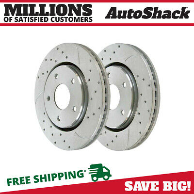 Rear Performance Drilled Slotted Rotor Pair for 2008-2016 Grand Caravan Silver