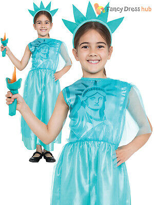 Girls Statue of Liberty Costume Childs America Fancy Dress Kids 4th July Outfit