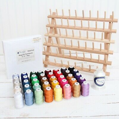 Machine Embroidery Set: 40 Colors Polyester Thread, Bobbin, Stabilizer, Rack