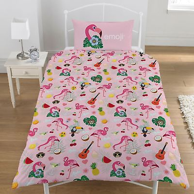 Emoji Flamingo White & Pink Single Duvet Cover Set Childrens  - 2 Designs In 1