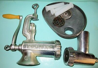 Commercial Hand Operated Meat Mincer No 10 Cast Iron Machine + Spares