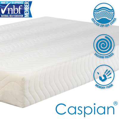 Caspian® Memory Foam Mattress - Quilted Ortho Cool Hypoallergenic All Sizes NEW