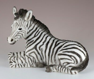 "Laying Baby Zebra Figurine Statue 6"" Long Detailed Polystone New In Box"