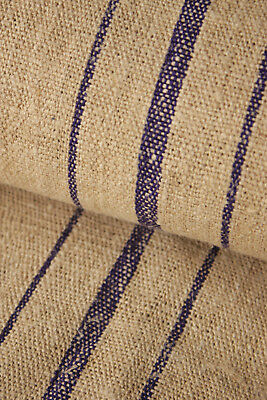 RARE PURPLE  striped fabric Vintage GRAIN SACK fabric material 12.2 yards HEMP