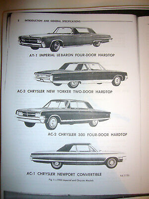 1965 Chrysler New Yorker Imperial Le Baron 300 Newport Service Technical Manual