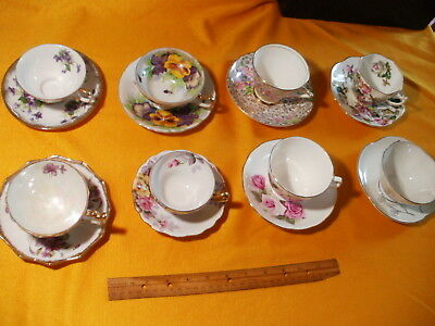 8 Vintage Cup and Saucer Sets
