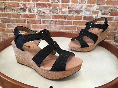 016ef332136 CLARKS BLACK SUEDE Annadel Orchid T-Strap Wedge Sandals New -  49.95 ...