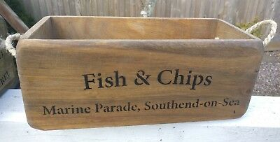Fish & Chips Essex  Antiqued Vintage Style Wooden  Box, Crate Small