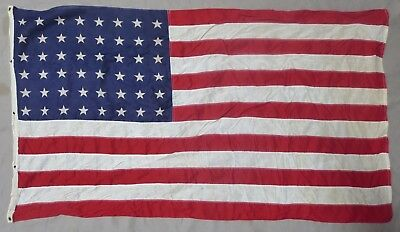 Worn & Used WW2 Vintage US 48 STAR AMERICAN FLAG Original 2 1/2 x 4 1/2