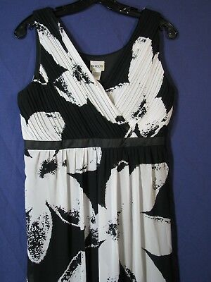 347d09c939 NWT Chico s Pleated Crystal CHIFFON MAXI DRESS Black   White Print TIERED  TANK 1