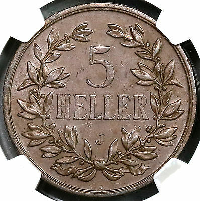 1908-J NGC AU 55 DOA German East Africa Huge 5 Heller Colonial Coin (16111205CZ)