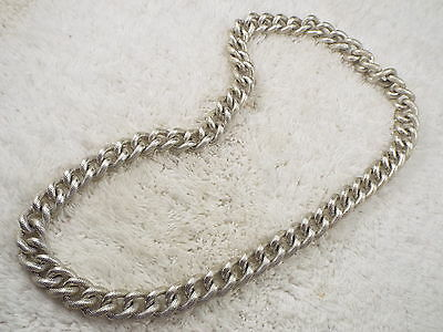 Etched Silvertone Aluminum Chain Necklace (A62)