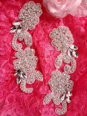 ACT/DH25/A Applique Mirror Pair Crystal Rhinestone Silver Beaded Bridal Patch Mo