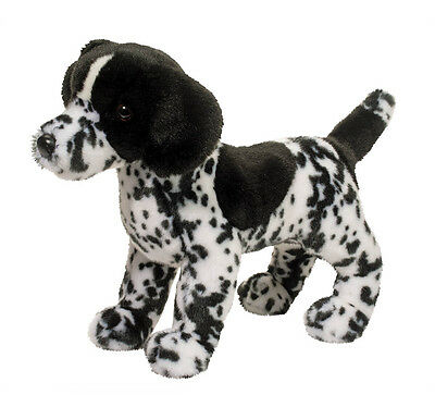 DOUGLAS CUDDLE TOY Stuffed Soft Plush Animal POINTER Black & White Dog Puppy 16""