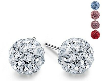 .925 Sterling Silver Round Ball Disco Crystal Stud Earrings New Gift Box