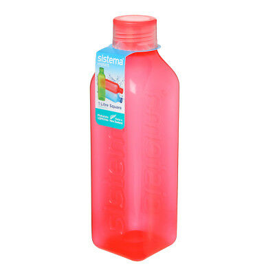 Sistema Hydrate 1L Square Drink Bottle, Orange Water Juice Work Travel School