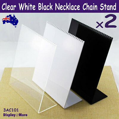 2X ACRYLIC Necklace Chain Stand | LARGE | Clear, White or Black | AUSSIE Seller