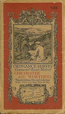 Ordnance Survey Map No 133 CHICHESTER & WORTHING. - 1920 - cloth