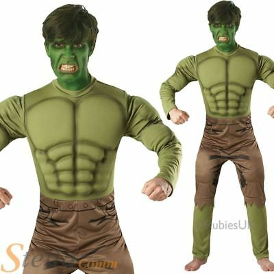 Mens Deluxe Incredible Hulk Costume Super Hero Halloween Fancy Dress Outfit