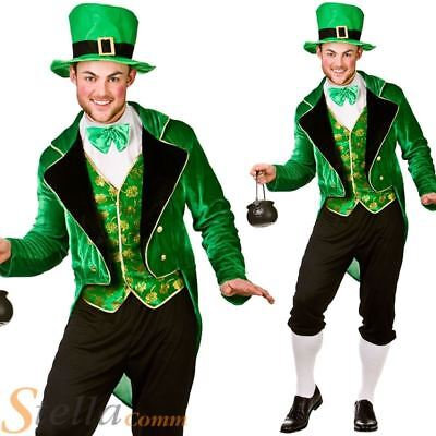 Mens Deluxe Leprechaun Irish St Patricks Day Fancy Dress Costume Adult Outfit