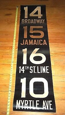 Vintage R16 Nyc Ny Subway Sign Broadway 14 St Myrtle Jamaica Brooklyn Roll Sign