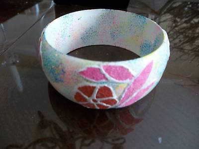 Vintage Estate Hand Painted Bangle style BRACELET -  Pink & Red - Pretty
