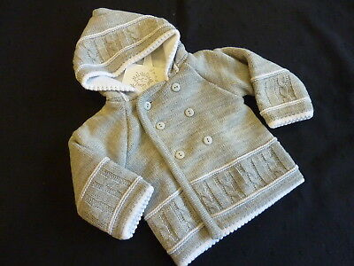 KNITTED HOODED JACKET IN AN ATTRACTIVE GREY COLOUR- from NEWBORN to 12-18m