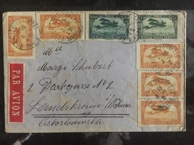 1929 Morocco Airmail COver to To Bohemia Czechoslovakia