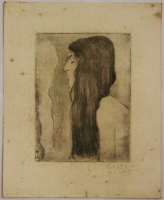 GUSTAV  KLIMT  Old etching signed and numbered by hand in pencil
