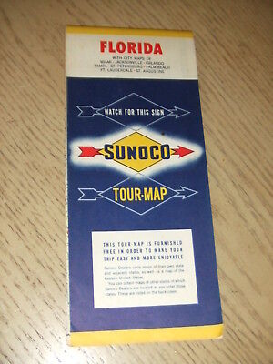 VINTAGE 1953 SUNOCO Oil Gas Florida State Highway Road Map Miami ...