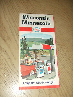 VINTAGE 1967 Enco Humble Oil Wisconsin Minnesota State Highway Road Map Duluth